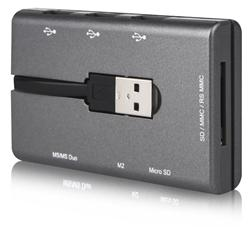 CANYON multi čtečka karet a USB hub, CNE-CMB1 (SD/SDHC/MMC/RS MMS/mini SD/M2/MS/MSP/MSD/MS ProDuo/microSD(T-Flash)
