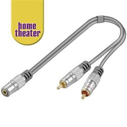 Home Theater HQ adaptér Jack 3,5mm stereo - 2 x CINCH stereo 15cm