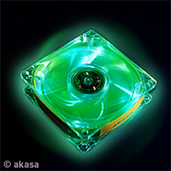 AKASA LED Case FUN - 8cm vetrák, crystal - zelený