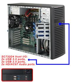 "SUPERMICRO Mid-Tower 4x SATA FIX (3,5""), Drive bay (2x 5,25"", 1x 3,5""), 2x USB 3.0, 2x USB 2.0, 500W"