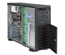 "SUPERMICRO Tower/4U 8x 3,5"" HS SAS/SATA, 2x 5,25"", 1x 5,25"" pro 3,5"", 1200W (80PLUS) (Super Quiet - 27dB)"
