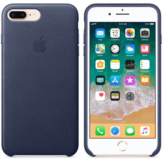 iPhone 8 Plus / 7 Plus Leather Case - Midnight Bl