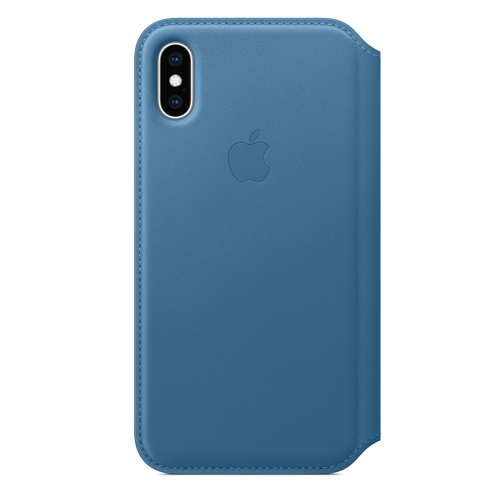 iPhone XS Leather Folio - Cape Cod Blue