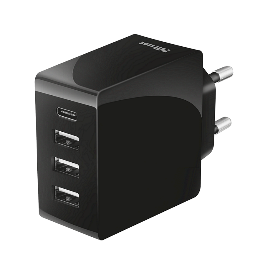 TRUST Fast Wall Charger 24W with 4 USB-C, USB-A