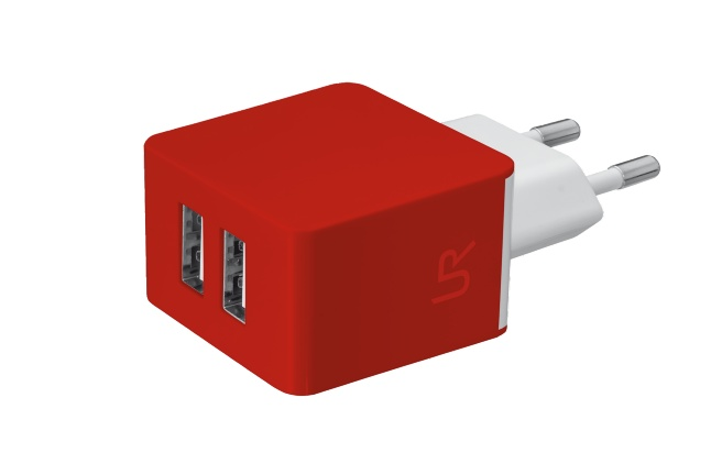nabíječka TRUST 5W Wall Charger with 2 USB-red