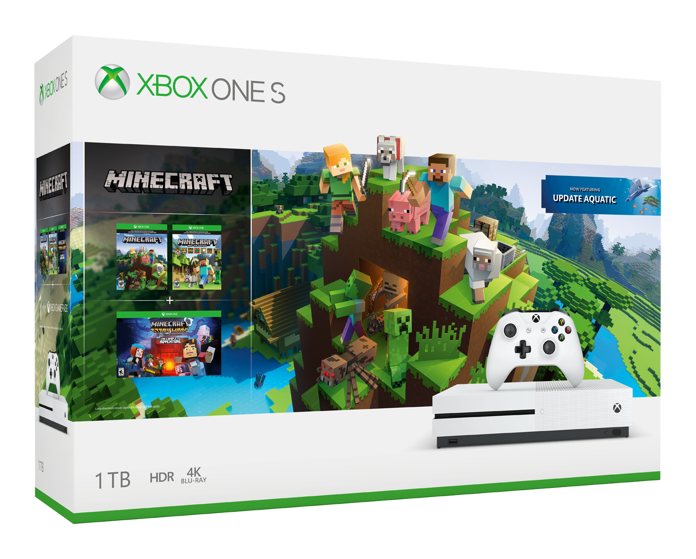 XBOX ONE S 1 TB + Minecraft + Explorer's Pack + Minecraft: Story Mode - The Complete Adventure