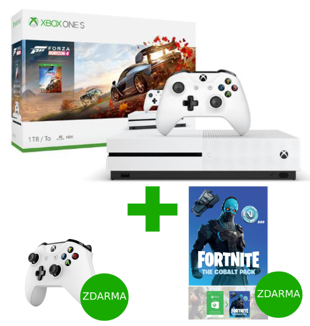 XBOX ONE S 1 TB + Forza Horizon 4 + Fortnite The Cobalt Pack + bílý ovladač ZDARMA