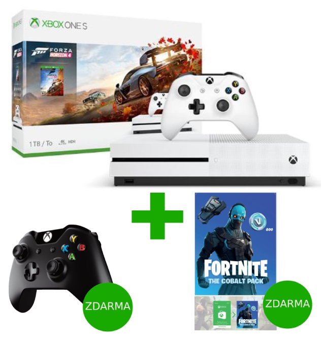 XBOX ONE S 1 TB + Forza Horizon 4 + Fortnite The Cobalt Pack + černý ovladač ZDARMA