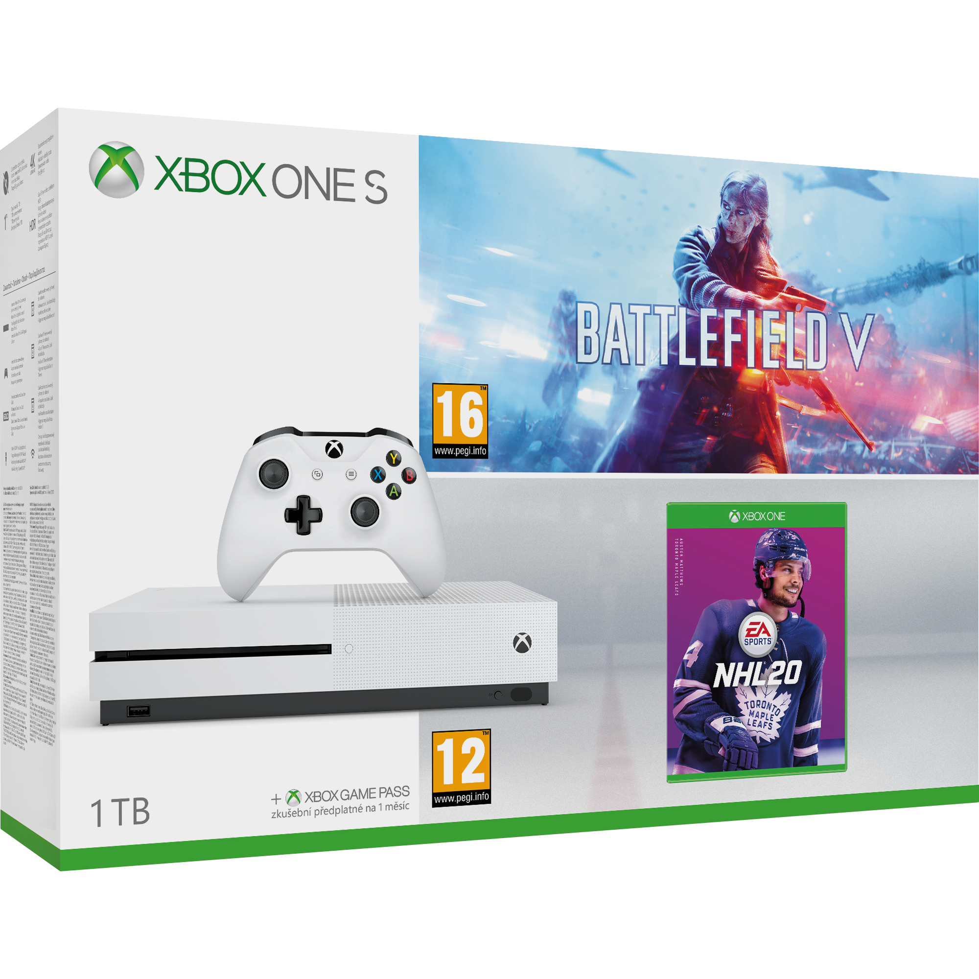 XBOX ONE S 1 TB + Battlefield V + NHL 20 (FPP)