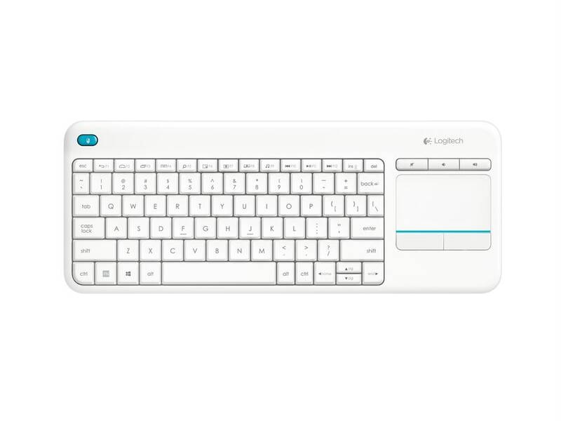 PROMO Logitech Wireless Touch Keyboard K400 plus,USB,CZ layout,White