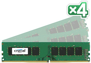64GB DDR4 - 2400 MHz Crucial CL17 DR x8 DIMM kit, 4x16GB