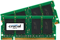 SO-DIMM kit 2GB DDR2-667 MHz Crucial CL5, 2x1GB