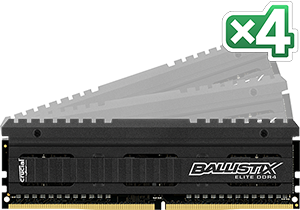 16GB DDR4-2666MHz Crucial Ballistix EliteCL16 SRx8, kit 4x4GB