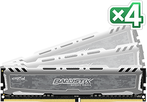 64GB kit DDR4 - 2400 MHz Crucial Ballistix Sport Grey CL16 DR x8 DIMM, 4x16GB
