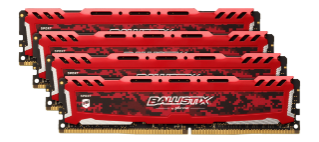 64GB  DDR4 2400MHz Crucial Ballistix Sport LT CL16 DR 4x16GB Red