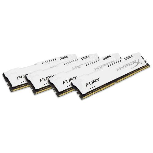 64GB DDR4 2400MHz CL15 DIMM HyperX FURY White, 4x16GB