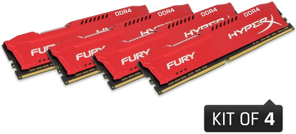 64GB DDR4 2666MHz CL16 DIMM HyperX FURY Red, 4x16GB