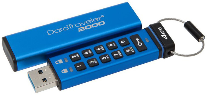 4GB Kingston USB 3.0 DT2000 HW šifrování, keypad