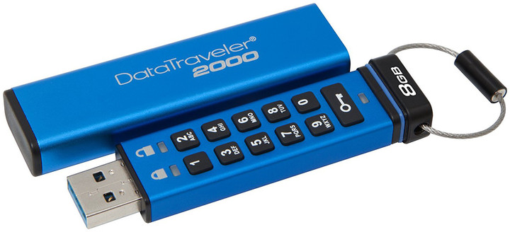 8GB Kingston USB 3.0 DT2000 HW šifrování, keypad