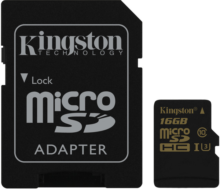 16GB microSDHC Kingston UHS-I U3 90R/45W