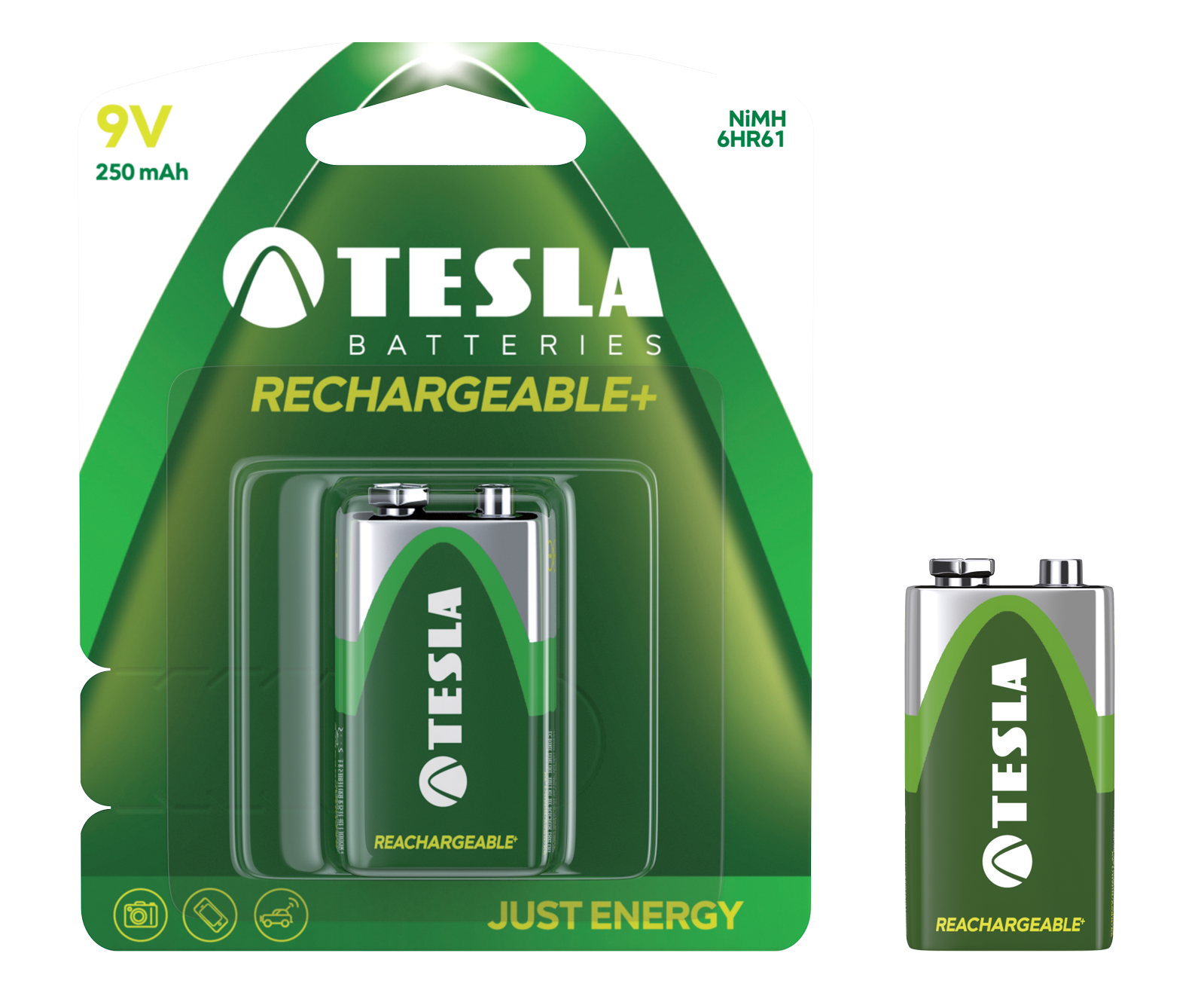TESLA - baterie 9V RECHARGEABLE+ , 1ks, 6HR61
