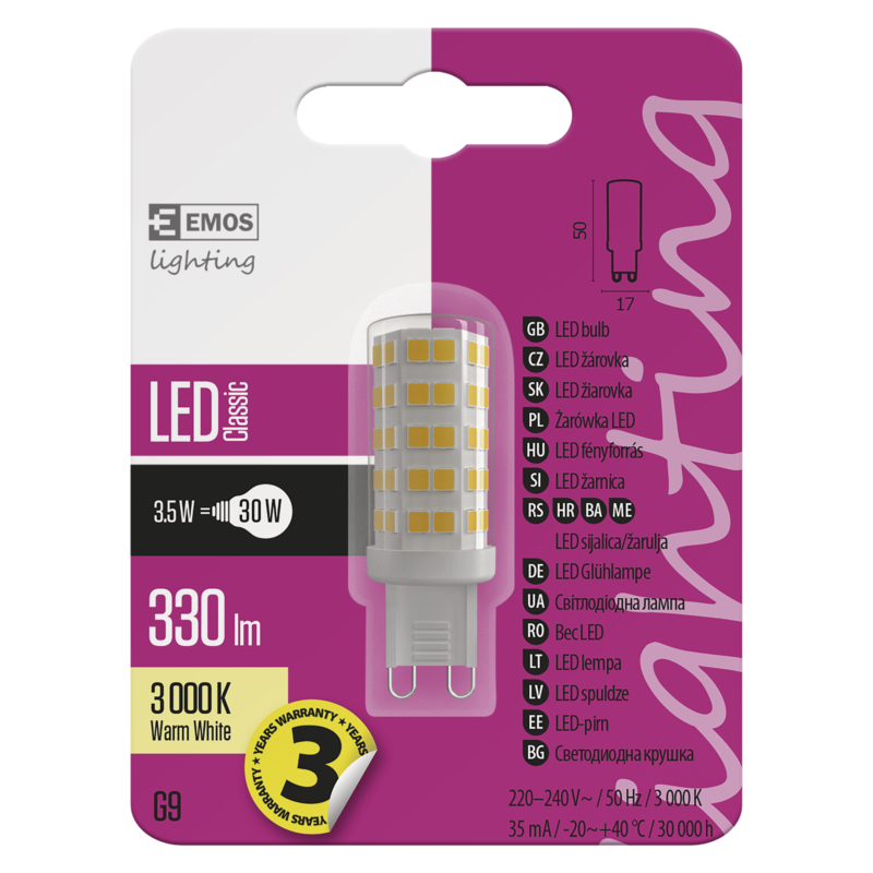 LED CLS JC A++ 3,5W(30W) 330lm G9 WW