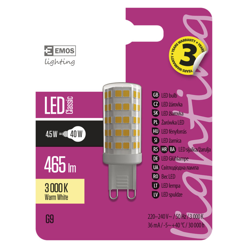 LED CLS JC A++ 4,5W(40W) 465lm G9 WW