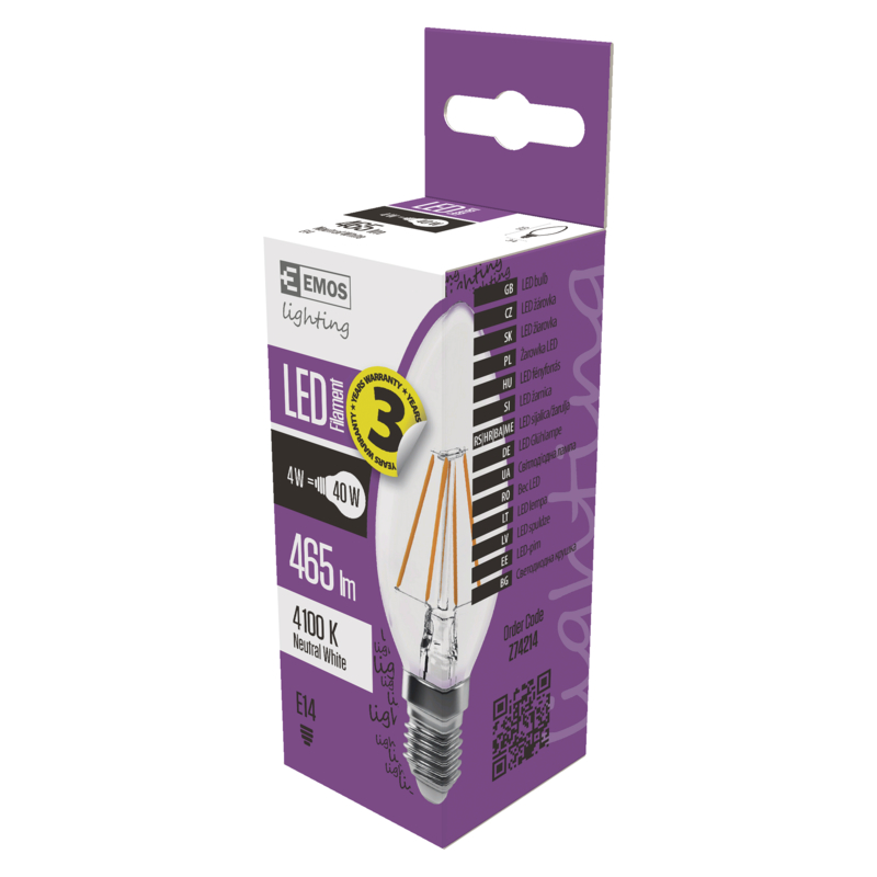 EMOS LED ŽÁROVKA FIALEMENT CANDLE 4W(40W) 465lm E14 NW A++