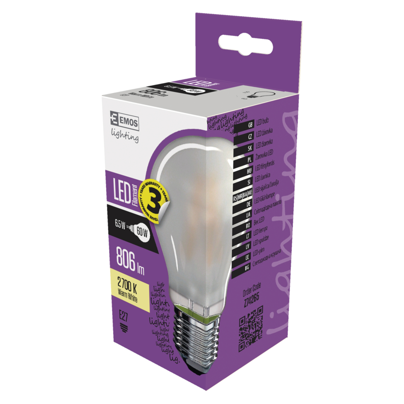LED FLM A60 6,5W(60W) 806lm WW FR. A++
