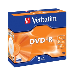 VERBATIM DVD-R(5-Pack)Jewel/MattSlvr/16x/4.7GB