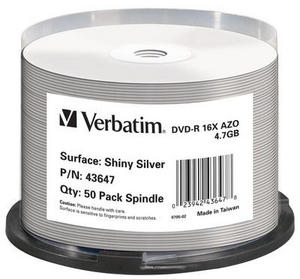 VERBATIM DVD-R (16xThermal Printable, 4,7GB), 50 cake