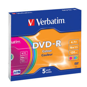 VERBATIM DVD-R 4,7 GB (120min) 16x colour slim box, 5ks/pack