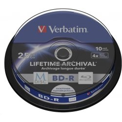Verbatim Blu-ray BD-R M-Disc 25GB 4x Printable, 10-cake