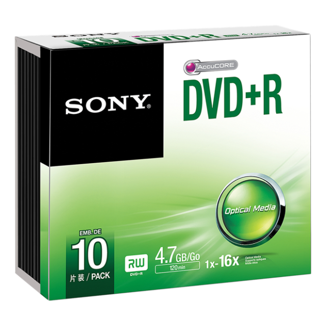 Média DVD+R SONY; 4.7GB; 10ks SLIM (120 min.)