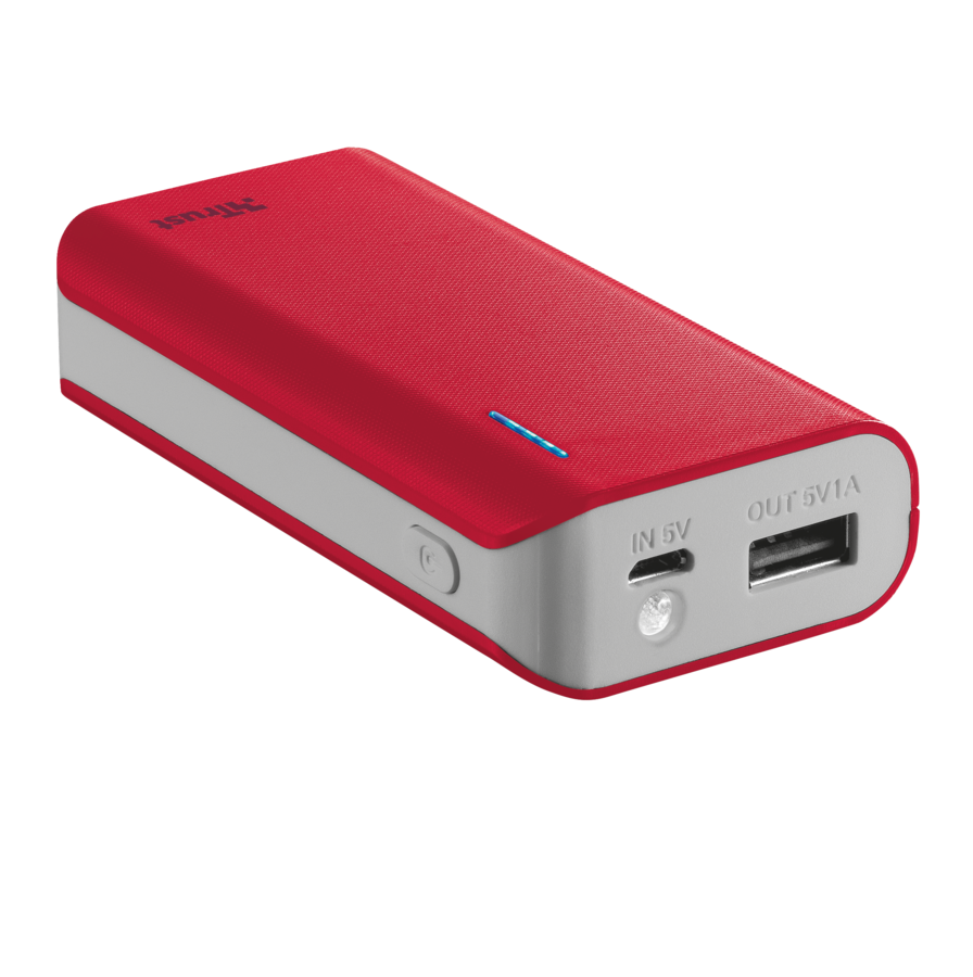 TRUST Primo PowerBank 4400 Portable Charger - red
