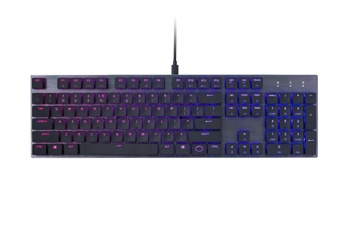 COOLER MASTER MK SK650 RGB mechanická klávesnice US layout CHERRY MX RED LOW PROFILE