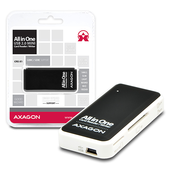 AXAGON CRE-X1, USB 2.0 externí MINI čtečka 5-slot ALL-IN-ONE