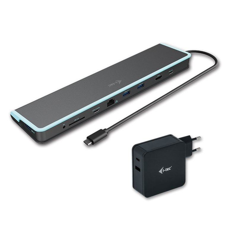 C31FLATV260W i-tec USB-C Flat Docking Station with Power Delivery 60W + i-tec Universal Charger 60W