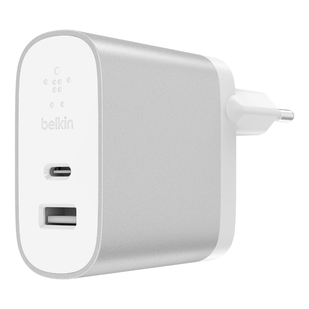 BELKIN 27W + 12W USB-C/A Dual Home Charger, Silver