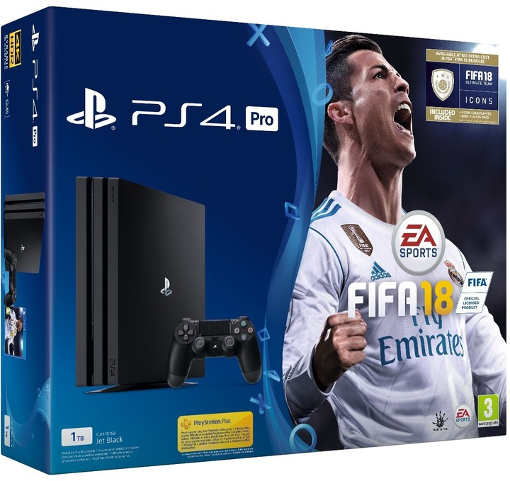 PS4 Pro - Playstation 4 Pro 1TB + FIFA18 + PS Plus 14 dní
