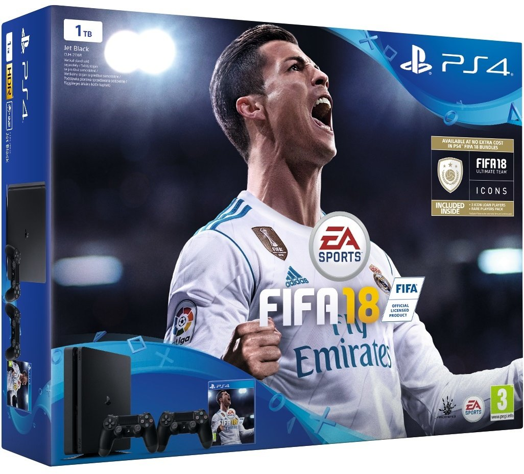 PS4 - Playstation 4 1TB black + DS4 black+ FIFA18 + PS Plus 14 dní