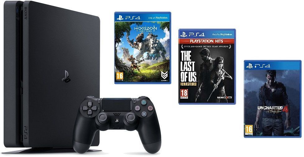 PS4 - Playstation 4 1TB Black, F Chasiss + TLOU + U4 + HZD 28.6.2019