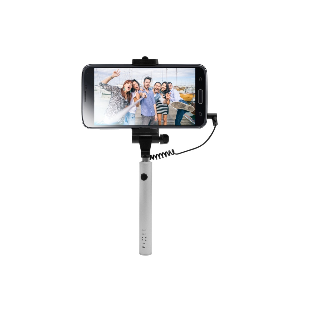 Selfie stick FIXED Snap Mini,3,5mm jack, stříbrný