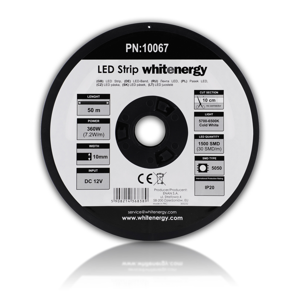 WE LED páska 50m SMD5050 7.2W/m 10mm studená bílá
