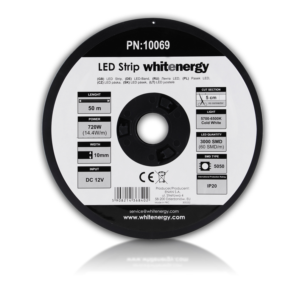 WE LED páska 50m SMD5050 14.4W/m 10mm studená bílá