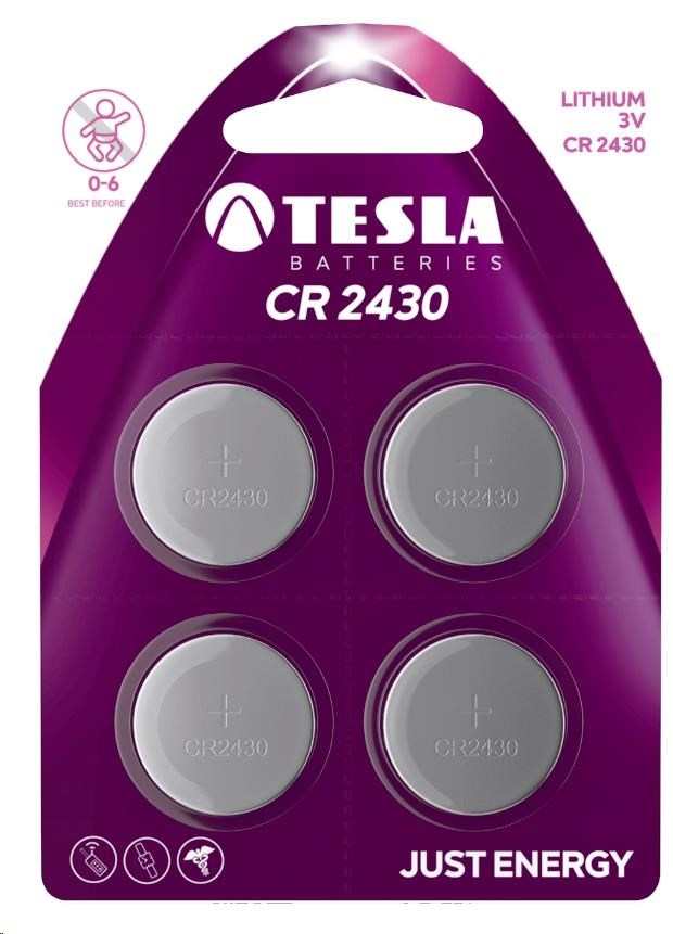 Tesla - CR 2430 Lithium, CR2430, BLISTER/4ks