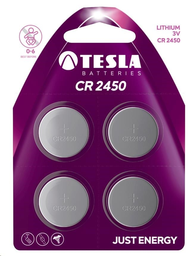 Tesla - CR 2450 Lithium, CR2450, BLISTER/4ks
