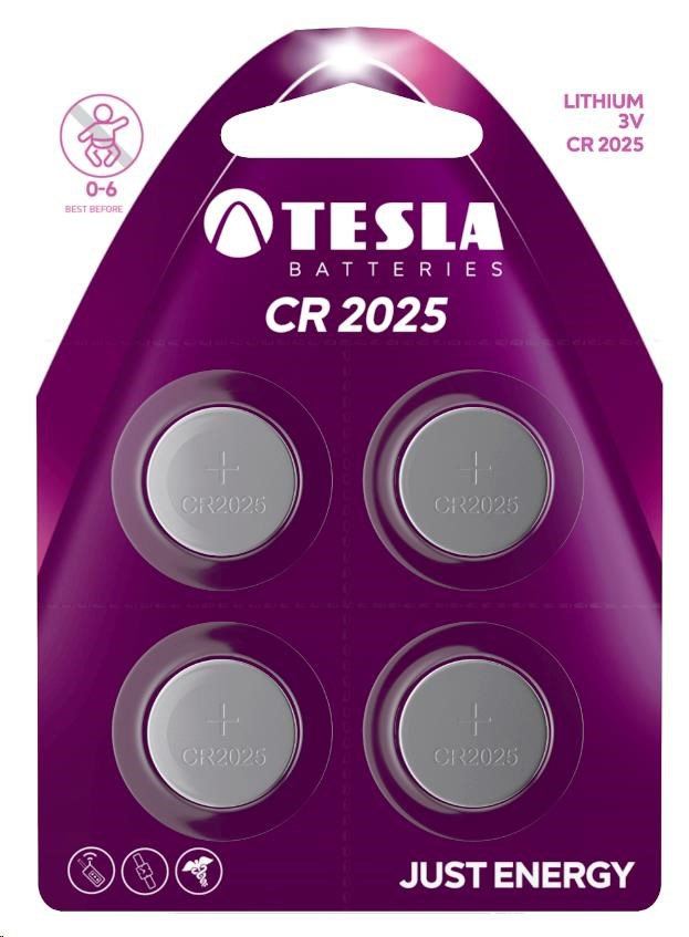 Tesla - CR 2025 Lithium, CR2025, BLISTER/4ks