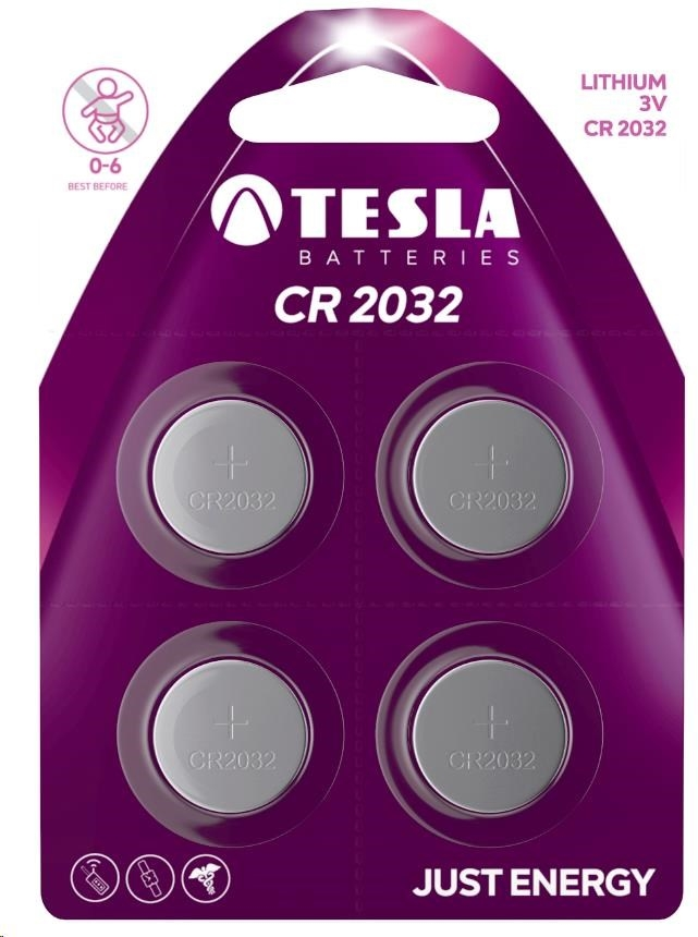 Tesla - CR 2032 Lithium, CR2032, BLISTER/4ks