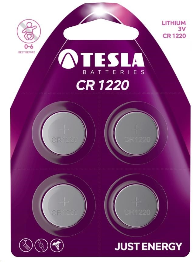 Tesla - CR 1220 Lithium, CR1220, BLISTER/4ks